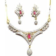 Shingar Jewelry Ksvk Jewels Cubic Zirconia (CZ) Tanmania Pendant Set For Women (9936-psad-ruby)