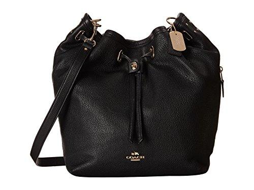e5bff6d76f2e ... promo code for coach leather turnlock tie bucket bag in light gold  black 34988 handbags amazon