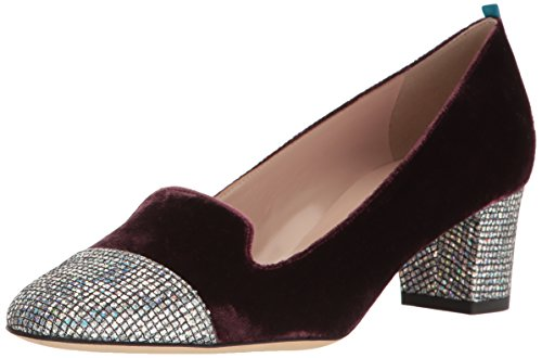 SJP by Sarah Jessica Parker Women's Daze Loafer Block Kitten Heel, Bordeaux Velvet, 36.5 B EU (6 - Bordeaux Fabric Velvet