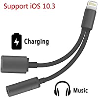 [Upgrade Version]2 in 1 Lightning iPhone 7 Adapter , Compatible with IOS 10.3 System, Sprtjoy Lightning to 3.5mm and Charger, Lightning Audio Adapter Earphone Jack Cable for iPhone 7 / 7 Plus [Black]