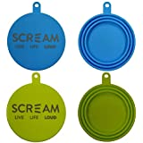 SCREAM Silicone Pet Food Can Cover 2Pk, Loud Green & Blue