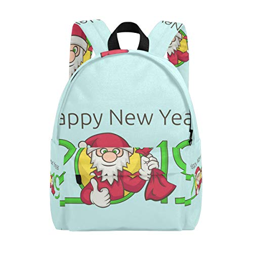 Unisex Happy New Year Santa Claus 2019 Backpack Student School Backpack Casual Daypack for Travel with Bottle Side Pockets