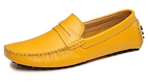 Penny Driving Mocs (LH-06-jinhuang-44 SUNROLAN Alger Men's Leather Moc Toe Penny Loafers Slip On Dress Shoes Gold US 10)