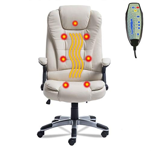 Belovedkai Office Computer Desk Massage Chair Executive Ergonomic Chair 360 Degree Height Adjustable 6 Point Massage Chair (White)