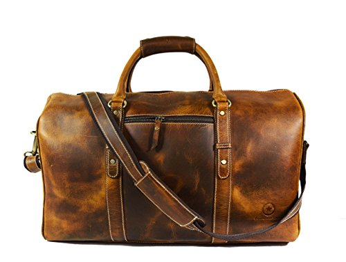 20 Inch Leather Travel Duffle Bag ,Gym Overnight Weekend Bag,By Aaron Leather (Brown) by Aaron Leather