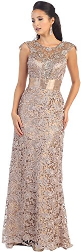 d86e6560fa Royal Queen RQ7182 Womens Formal Cap Sleeve Demure Evening Gown (8