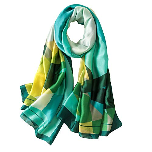 (100% Silk Scarf - Women's Fashion Large Sunscreen Shawls Wraps - Lightweight Floral Pattern Satin for Headscarf&Neck (Geometric Pattern-green1))