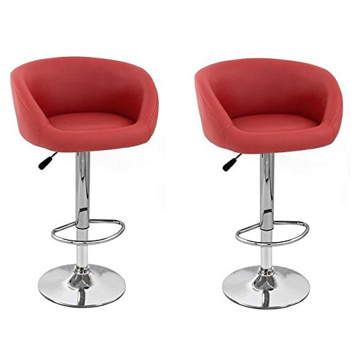 South Mission Isu Synthetic Leather Adjustable Swivel Bar Stool - Bright Red (Set of - Stool Bronze Bar Suede