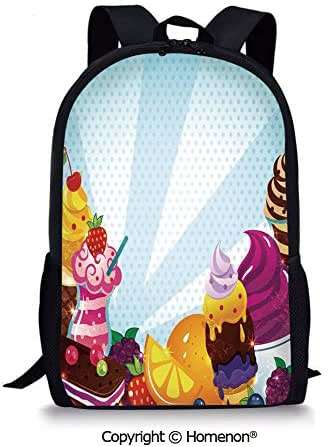 Multicolor,design Kids Print Backpack Schoolbag Book Bag Teenagers(17.3