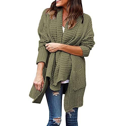 Manteau en Tricot XXXL S Cardigan Hauts en Automne Pulls Hiver Fit Cardigan Femme Manches Vert Loose Maille Longues E5xqFnvZ
