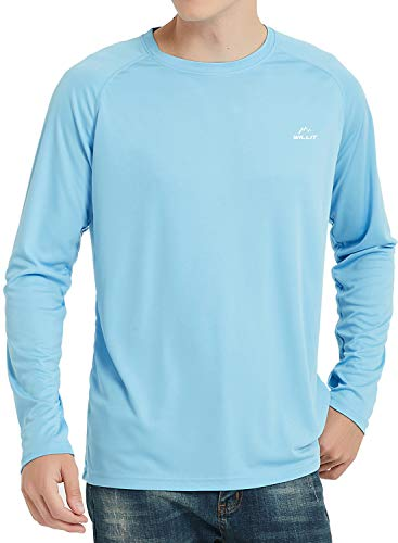 Willit Men's UPF 50+ Sun Protection T-Shirt Long Sleeve SPF Shirt Blue L