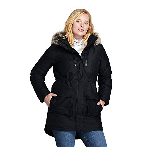 Lands' End Women's Plus Size Expedition Down Parka, 1X, Black