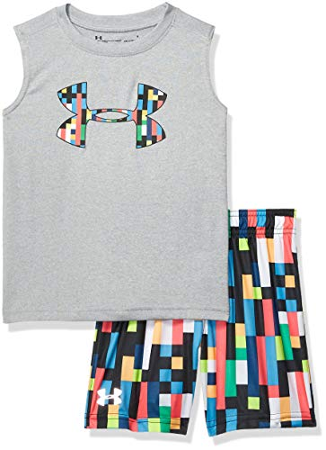 Under Armour Boys' Little UA Muscle Tank and Short Set, Moderate Gray-S19, -