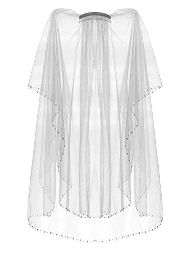 2 Tier Faux Pearl Beaded Edge Bridal Wedding Veil Waist/Fingertip lengths - ()
