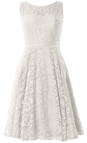 Length MACloth Party Knee Women Elfenbein Cocktail Formal Vintage Gown Wedding Dress Lace OFOBqY