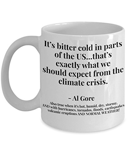 Climate Change Mug! Global Warming Cup - It's bitter Cold.should expect from climate crisis.-Al Gore, ETC. 11/15 oz