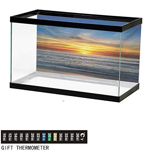 (wwwhsl Aquarium Background,Ocean,Sunset Over Pacific Ocean from La Jolla California Sun Rays Colored Sky Photo Print,Orange Blue Fish Tank Backdrop 30