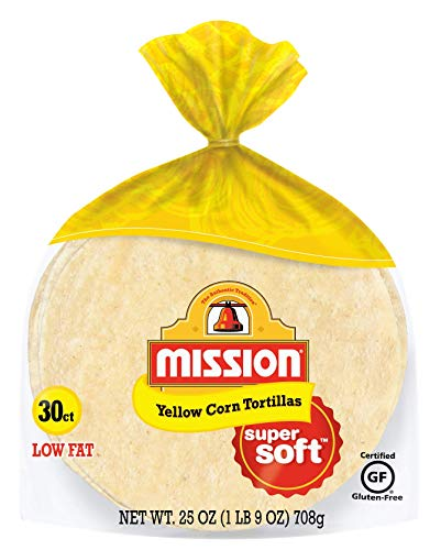 Mission Yellow Corn Tortillas   Gluten Free, Trans Fat Free   Small Soft Taco Size   30 Count