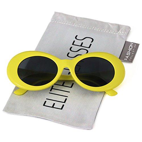 Elite Vintage NIRVANA Kurt Cobain Round Sunglasses For Women Men Eyewear (Yellow, - Cobain Kurt Glasses Yellow