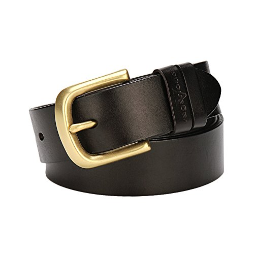 Belt Genuine Leather Men Belts brass buckle with Gift Box