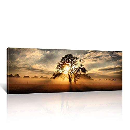 - Kreative Arts - Gallery Wrap Canvas Print - Beautiful Sunset Panoramic Canvas Art Print Nightfall Tree Landscape Canvas Prints Ready to Hang 20''x55''