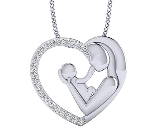 Fehu Jewel Women's 0.14ct Natural Diamond Heart Mom & Child Diamond Lovely Necklace Women Jewelry
