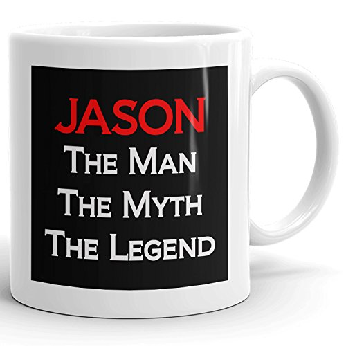 Jason Coffee Mugs - The Man The Myth The Legend - Best Gifts for men - 11oz White Mug - Red