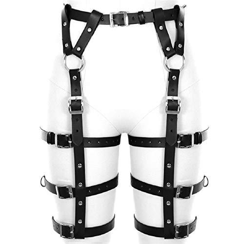 Women Leather Harness Lingerie Garter Ring Belt | Adjustable Leg Waist Cincher Cage | Sexy Gothic Punk Cosplay Fun Black
