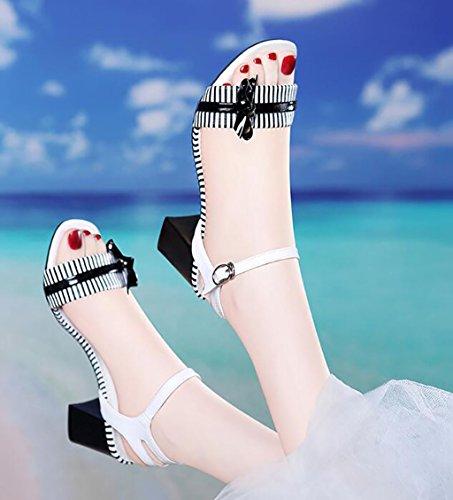 Tobillo Sandalias planas Peep moda Womens Block Color Sandalias B Mid Heel Low Ladies Sandalias Correa Toe B de Strappy Fiesta 36 Tamaño q7wO74