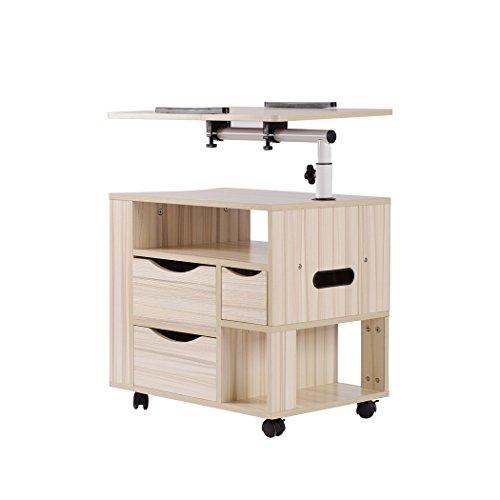 Multifunctional Bedside Table Nightstand with Swivel Desktop 3 Drawers 2 Shelf ()