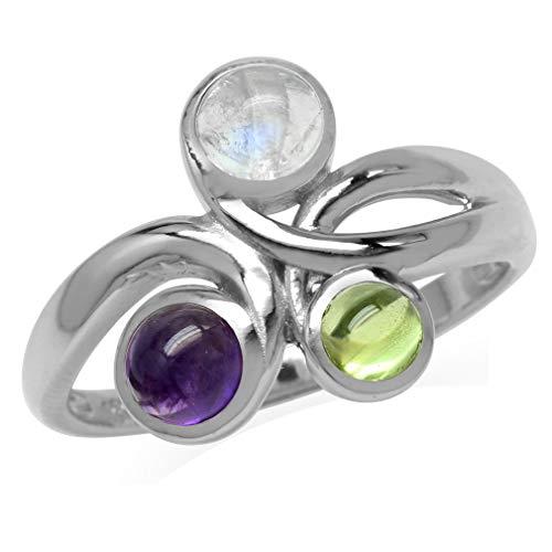 Moonstone,Cabochon Amethyst&Peridot 925 Sterling Silver Ribbon Knot Ring Size 7 ()