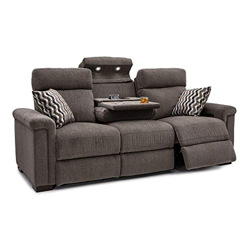 Seatcraft Hawke Home Theater Seating Performance Fabric Power Recline Sofa with Adjustable Powered Headrests, Fold-Down Table with AC USB Wireless Charging, Cup Holders, Matching Pillows, Jasper Tan