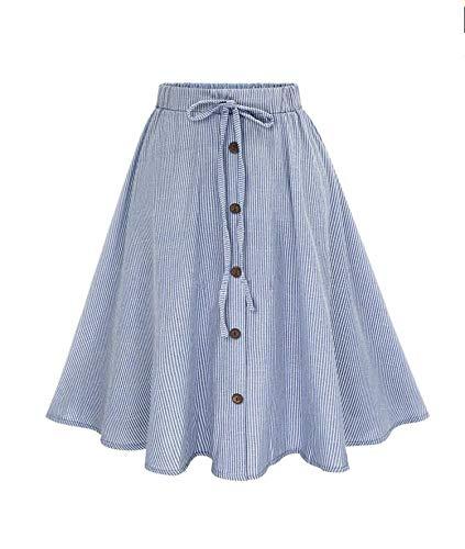 Women Stripe Single-Breasted Skirts Elegant Tie up High Waist Skirt Female Plain Striped Skater Flared Skirt Saias,Blue,M