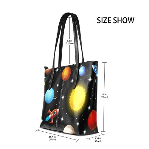 Pu Handbag Leather for Bennigiry Women Printing Rocket Tote Shoulder Space TIIxC0wt