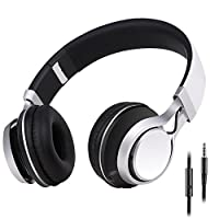 Sound Intone HD30 Headphones with Microphone Lightweight Folding Earphones for iPhone,PC,Laptop, Android Smartphones,Tablet (white)
