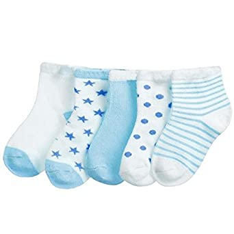 d3432dffd9ea4 FOOTPRINTS Organic cotton Baby Socks- 6-12 Months - Pack of 5 Pairs - Blue:  Amazon.in: Clothing & Accessories