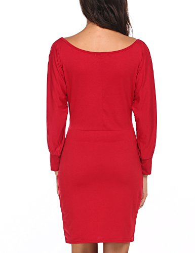 ACEVOG Dress Red Women Sexy Casual Wine Hip Cold Oblique Collar Package One Shoulder f1fvw