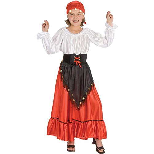 Girl's Gypsy Halloween Costume (Size: Large 10-12) red -