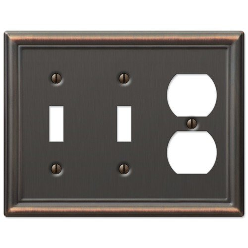 Duplex Outlet Triple Toggle Switchplate - Double Toggle and Duplex Combination Wall Switch Plate Outlet Cover - Oil Rubbed Bronze