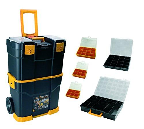Art Plast 6700R+3060 Valigetta Carrellata Porta Utensili in Plastica con Set di Valigette Assortite, Nero/Giallo/Trasparente