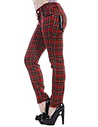 Women's Banned Red Tartan Plaid Check Emo Punk Skinny Trousers