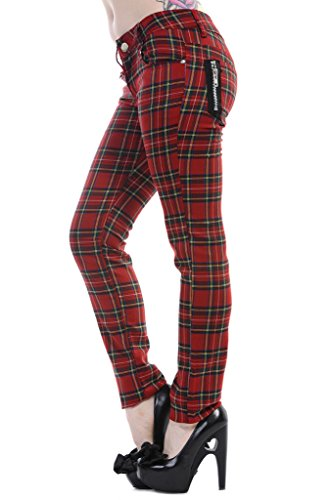 Women's Banned Red Tartan Plaid Check Emo Punk Skinny Trousers - (Cotton Plaid Trousers)
