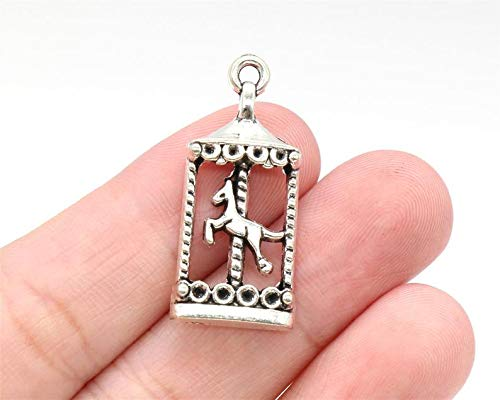 Great Selection 6 Pcs Carousel Horse Charms Pendants Antique Silver Tone 32x14mm - YD0728 Build Your Designs
