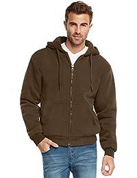 Essentials Mens Full Zip Sherpa Lined Fleece Hoodie Jacket