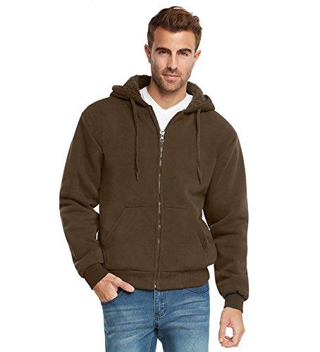 (9 Crowns Essentials Mens Full Zip Sherpa Lined Fleece Hoodie)