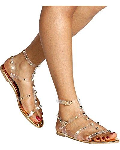 Vigo Fiore Women's Aurore Studded Clear Gladiator Sandal, Gold,10