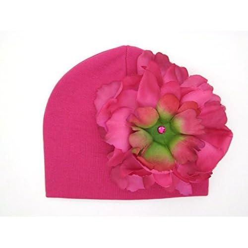 Jamie Rae Hats- Raspberry Cotton Hat with Raspberry Large Peony