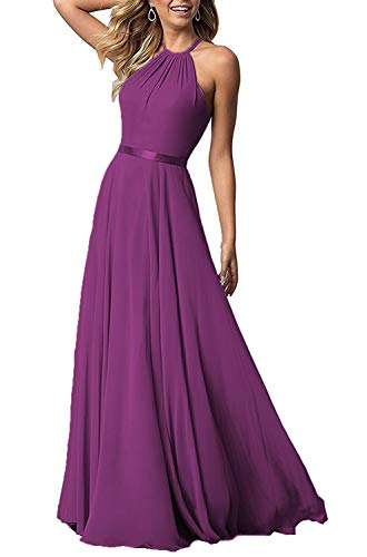 (Halter Neck Wedding Bridemaid Dresses Long Chiffon Maxi Formal Party Dress for Women Raspberry)