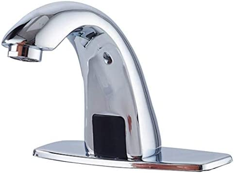 Electronic Bathroom Faucet Automatic Sensor Touchless Bathroom Sink Faucet Chrome, Motion Activated Hands-Free Vessel Sink Tap, Easy Installation, Lead Free Certified Battery or Plug Powered