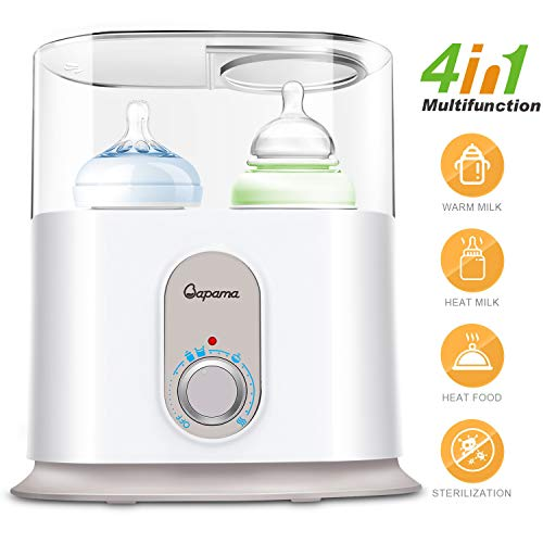 Bottle Warmer,Baby Bottle Sterilizer & Smart Thermostat 4 in 1 with Automatical Power-Off,Precise Temperature Control and Fast Heating